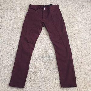 H&M men's maroon cotton pants (skinny fit)